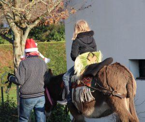 Adulte avec bonnet de noël dirige un âne portant un enfant pur une balade